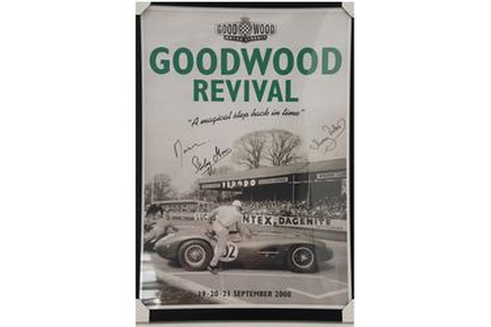 Framed Signed Print - 2008 Goodwood Revival signed by Stirling Moss, Murray Walker and Lord March
