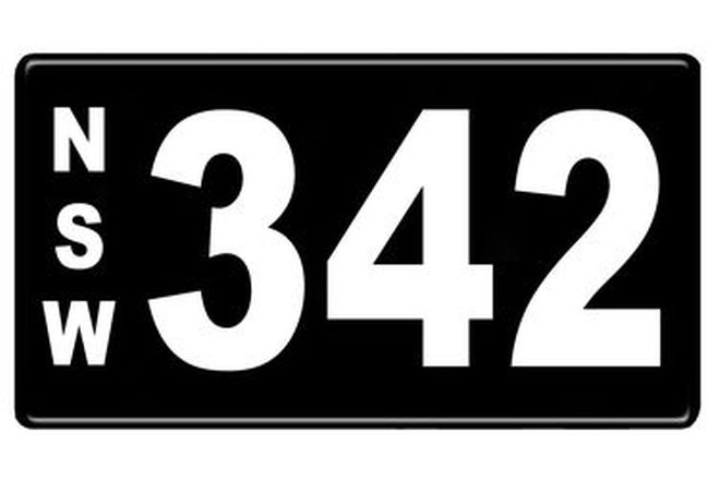 Number Plates - NSW Numerical Number Plates '342'