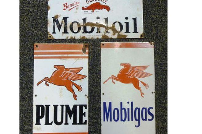 Enamel Signs x 3 - Gargoyle/Mobiloil, Plume & Mobilgas(45 x 25cm each)