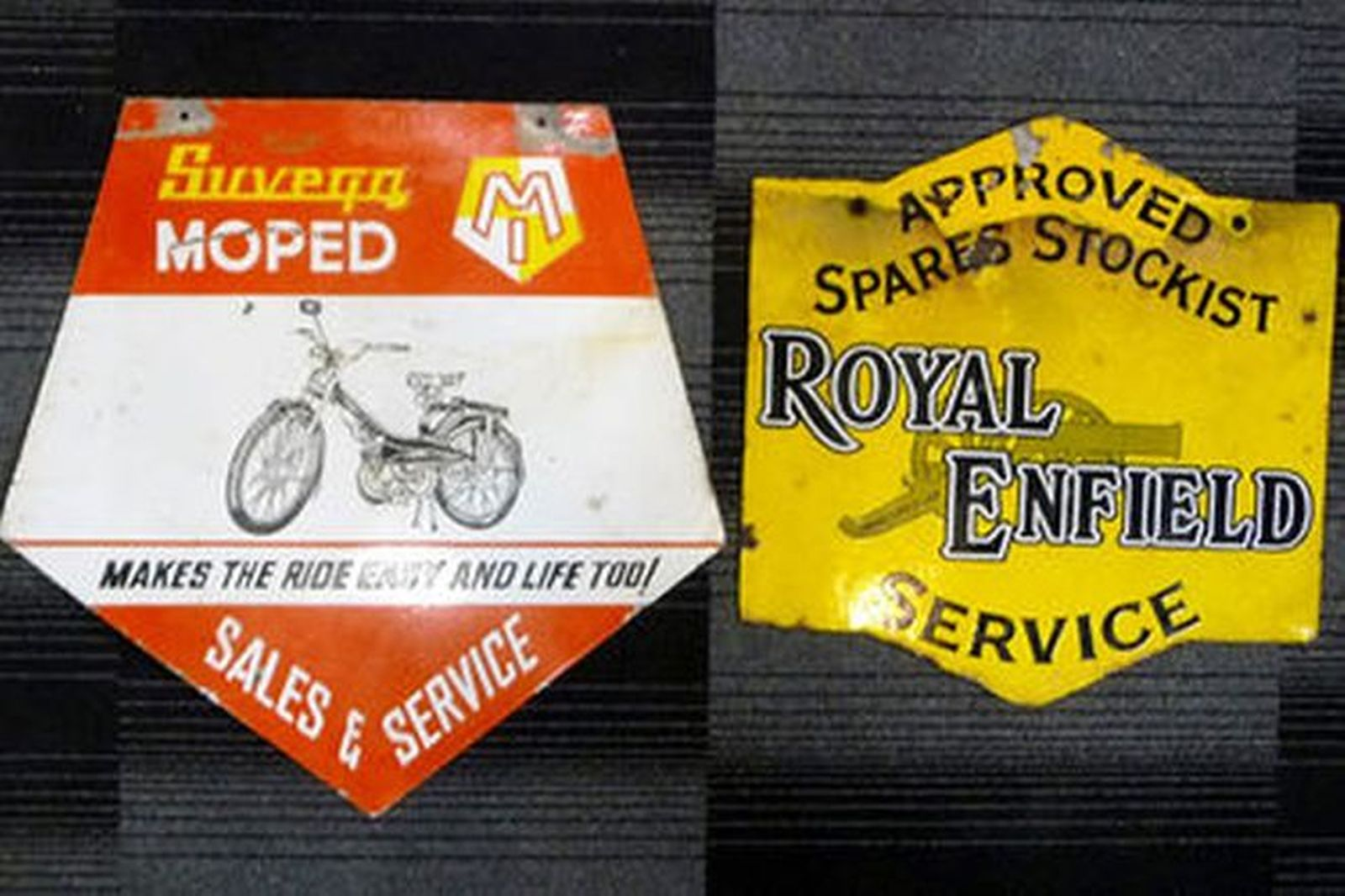 2 Signs & 4 Posters - Enamel Double-sided Royal Enfield & Suvega & Bike Themed Movie Posters