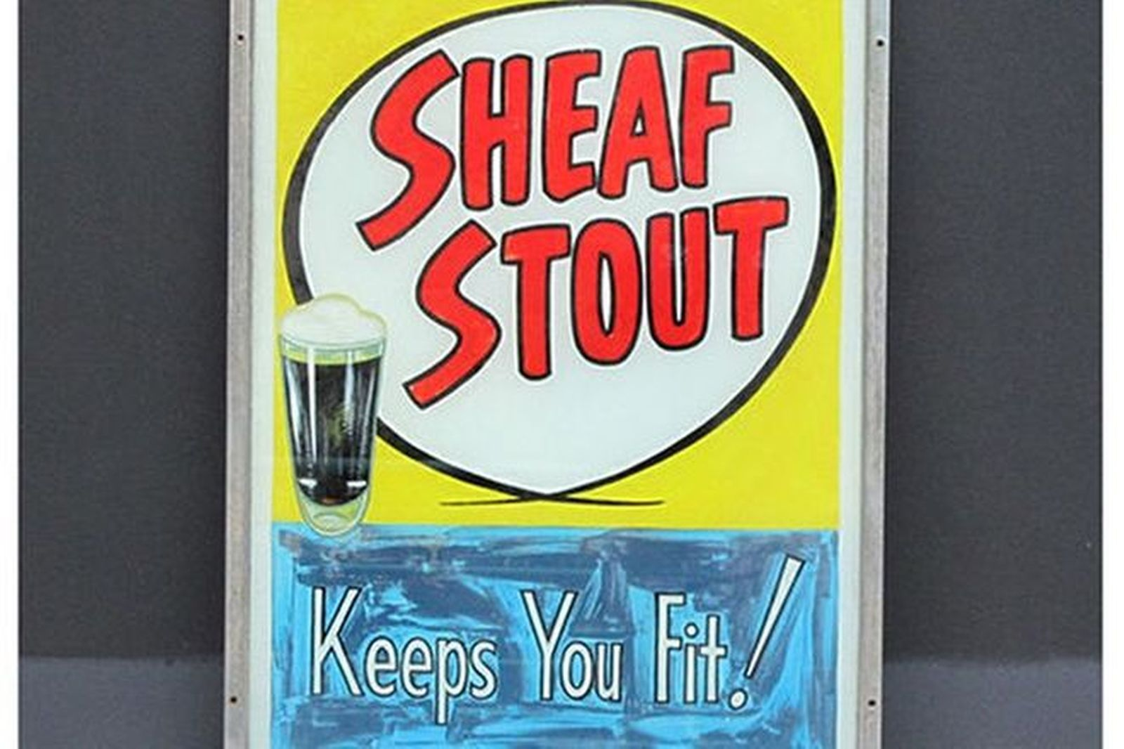 Sign - Framed Sheaf Stout Hotel Sign Hand Painted on Glass (105cm x 75 cm)