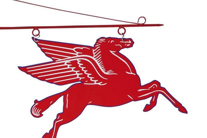 Enamel Sign - Double Sided Hanging Pegasus 70cm x 53cm  (Reproduction Screen Printed)