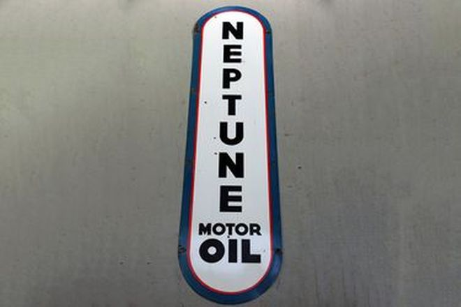Enamel Sign - Neptune Motor Oil 'Vertical' (184 x 45cm)