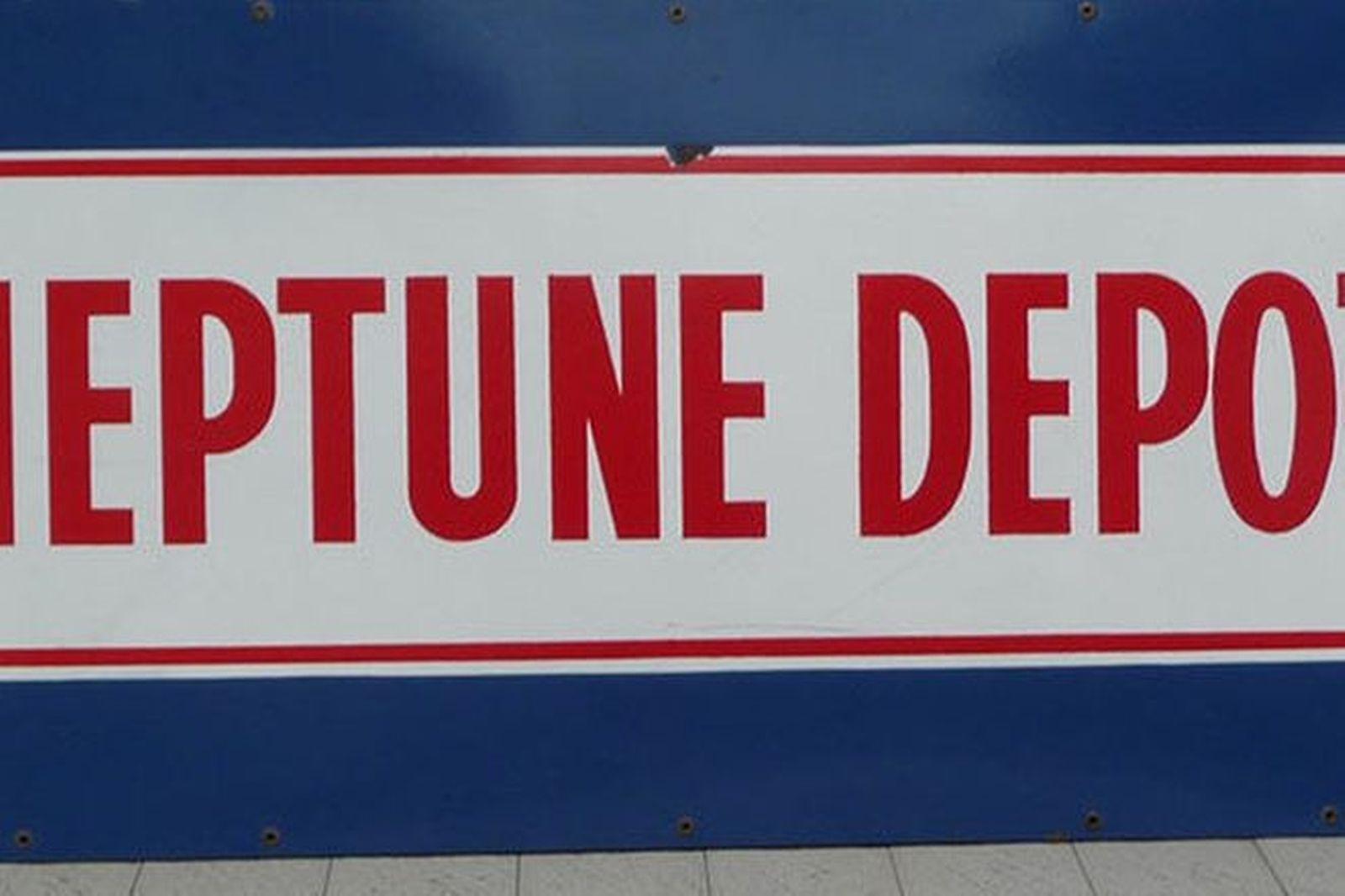 Enamel Sign - Neptune Depot (approx 185cm x 90cm)