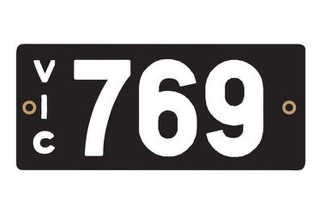 Victorian Heritage Numerical Number Plates - '769'