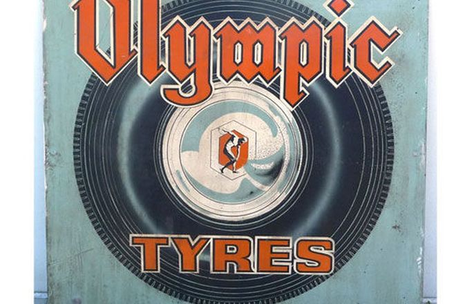 Painted Sign - Olympic Tyres (91cm x 91cm)