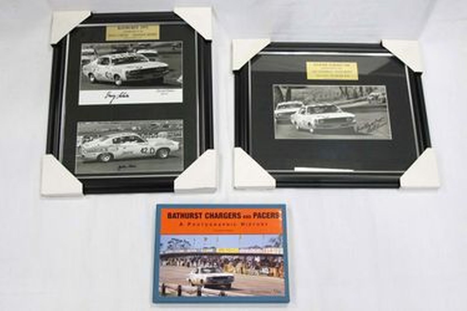 2 x Framed Charger Photos (Signed) and 1 x Bathurst Chargers & Pacers Photographic Book (Signed)