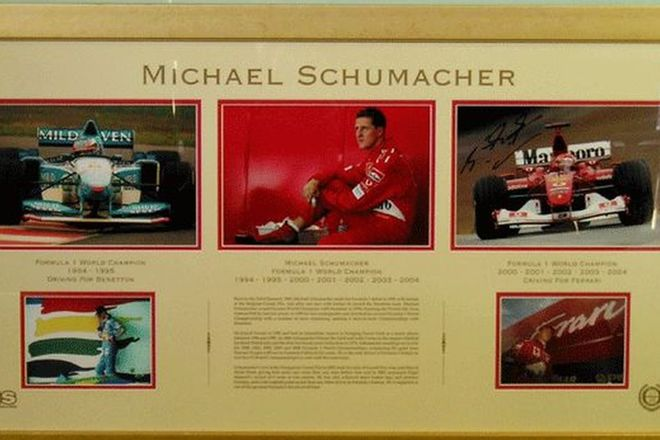Framed Photos- Signed Michael Schumacher Photo Set