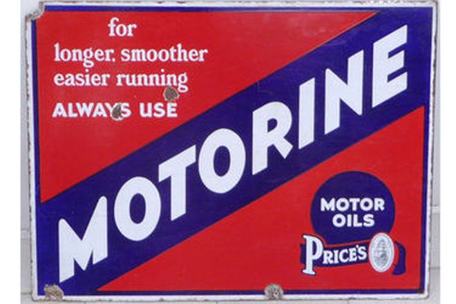 Enamel Sign - Double-Sided Motorine Post Mount (45cm x 60cm)
