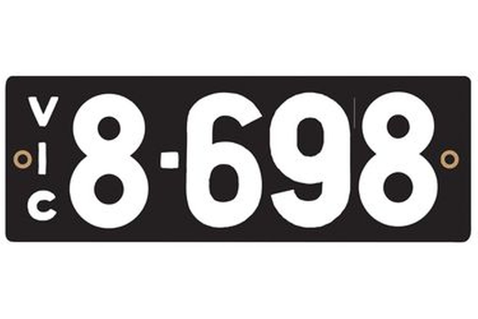 Victorian Heritage Numerical Number Plate - 8.698