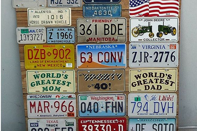 Number Plates - x 58 USA and Canadian No. Plates mounted on 3 Boards