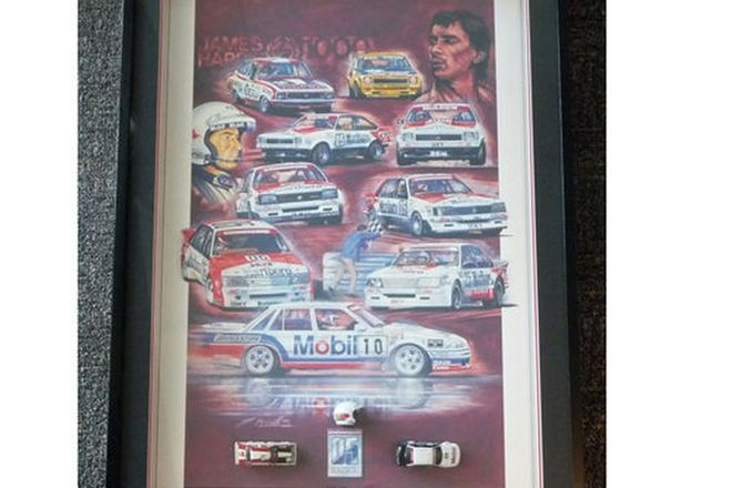 Framed Signed Print - Peter Brock Tribute & 2 mounted Models (106 x 76cm)