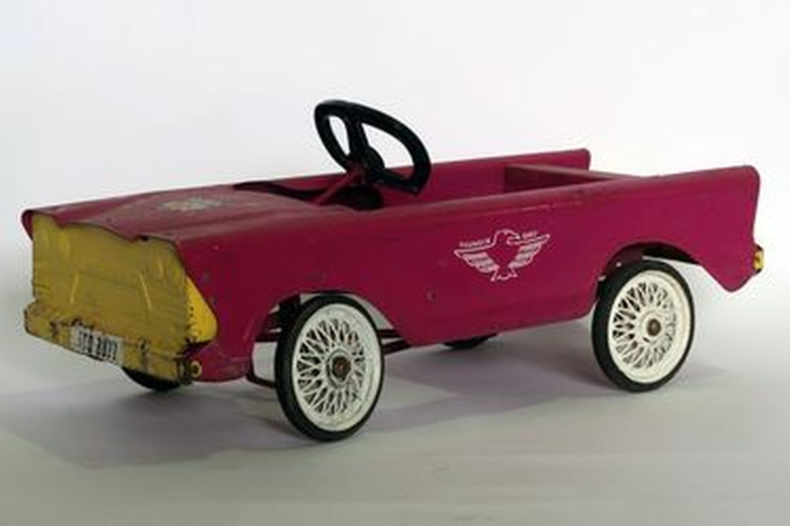 Child's Pedal Car - Triang Pink/Yellow (Metal) 85 x 38 x 26 cm
