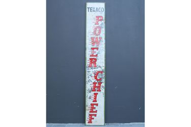 Tin Sign - Texaco Power Chief Mounted on Wood Frame (38 x 240cm)