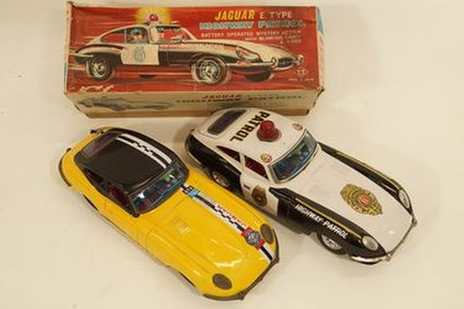 Model Cars x 2 - Battery operated Tinplate Jaguar E-Type by T.T, Japan