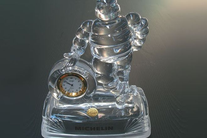 Desk Clock - Michelin Man Lead crystal  with 24 carat gold lettering