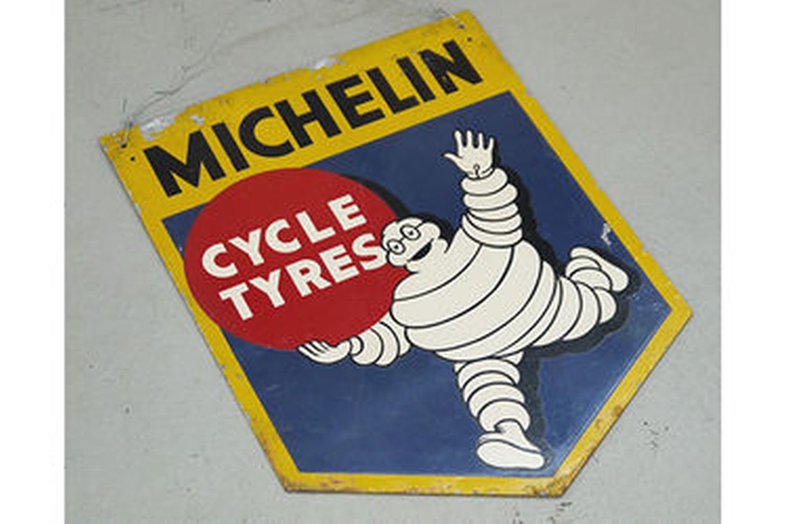 Sign - c1950s Original Michelin Cycle Tyres (double sided) Aluminium dealership (40 x 52cm)