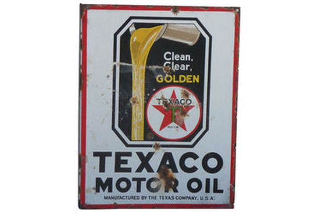 Enamel Sign - Double sided Texaco Motor Oil post mount (58cm x 45cm)