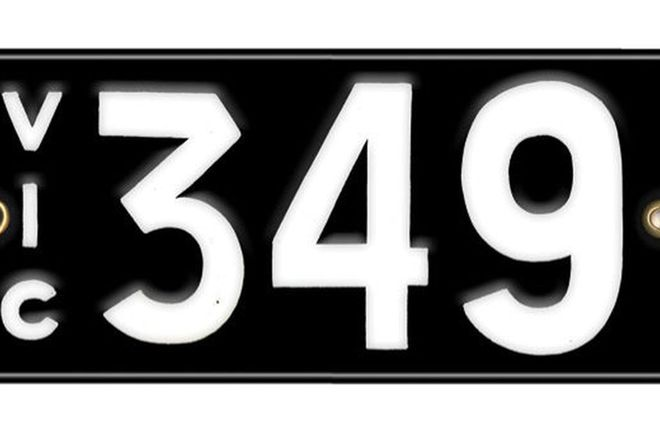Victorian Number plates '349'