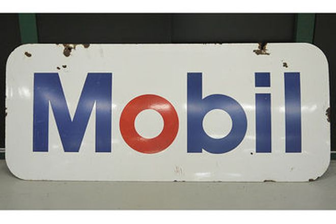 Mobil Enamel Sign & Castol Oil Bottle Rack (182 x 77cm)