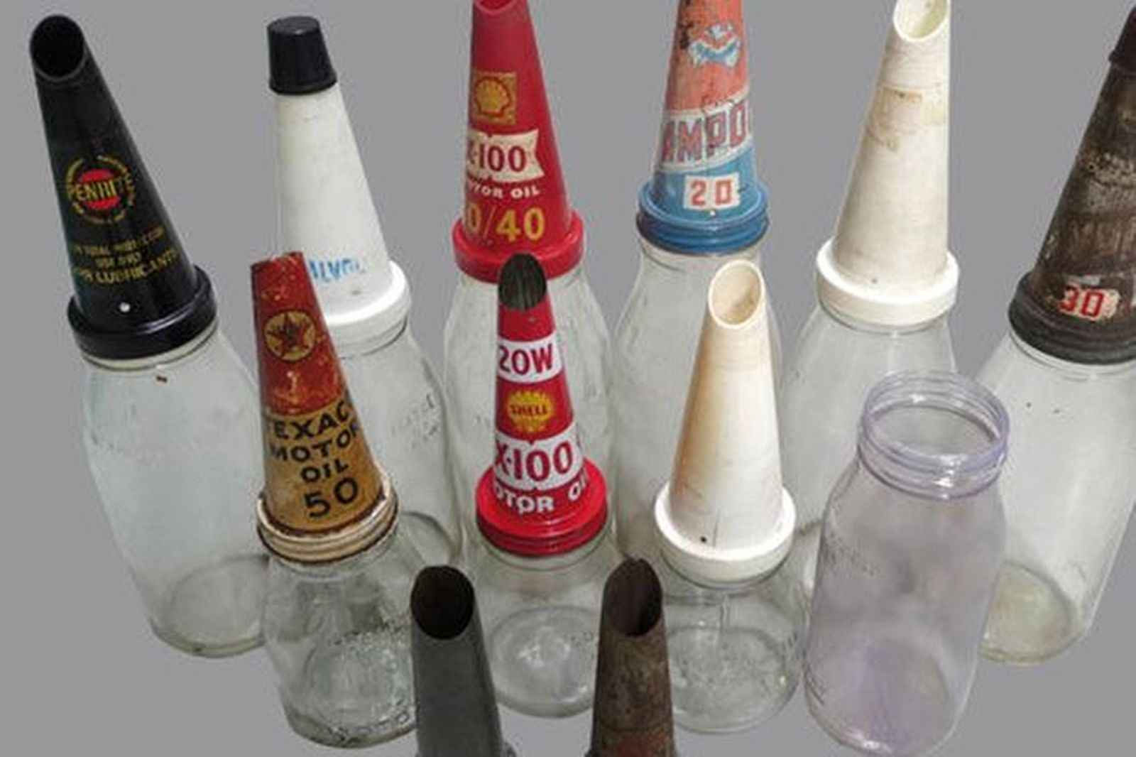 Collection of Assorted Oil Bottles and Pourers (10 bottles & 11 Pourers)