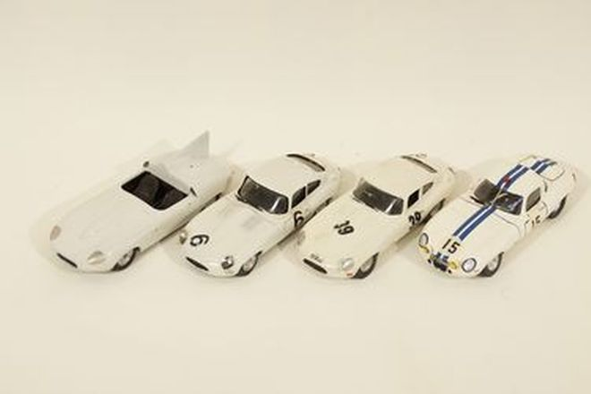 Model Cars x 4 - Jaguar E-Type x3 built-up from White metal kits & Jaguar E2A by Tron Kits