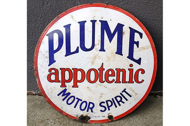 Enamel Sign - Plume Motor Spirit Round 'Double Sided' (36cm Dia.)