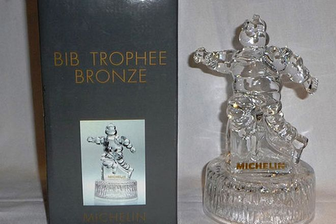 Crystal Michelin Man - Bib Trophee Bronze in Box (18cm Tall)