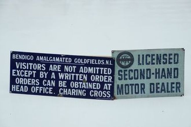 Signs x 2 - Bendigo Amalgamated Goldfields enamel sign & MTA Second-hand Motor Dealer
