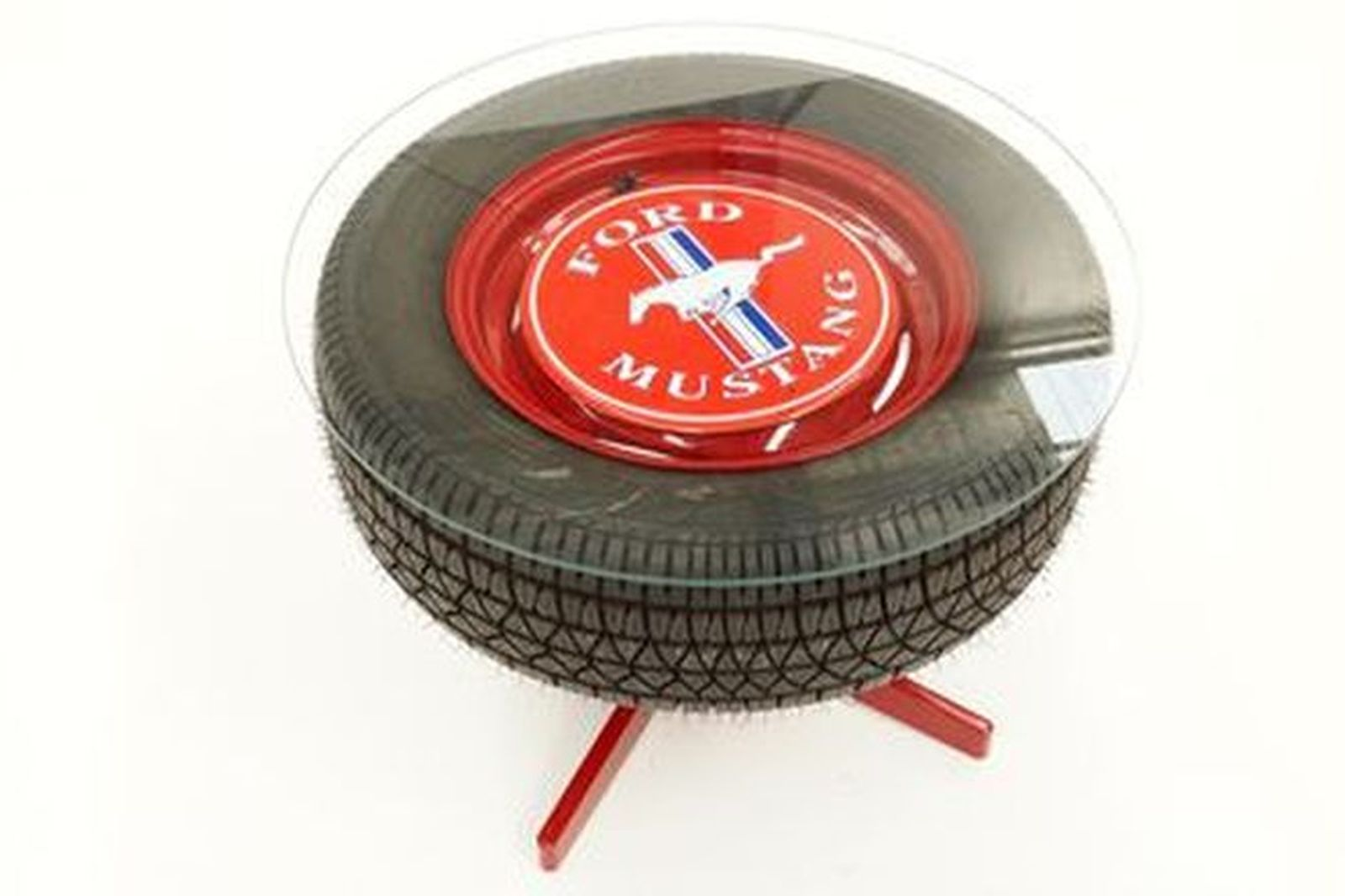 Coffee Table - Mustang Wheel & Tyre with Glass Top