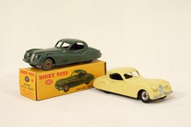 Model Cars x 2 - Dinky Toys diecast Jaguar XK120FHC in Green (with box) & Pale Yellow