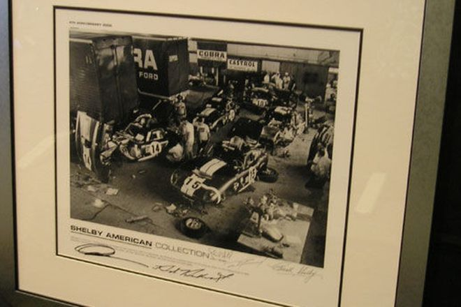 Framed, Signed Print - 'Shelby American Workshop' taken in 1965