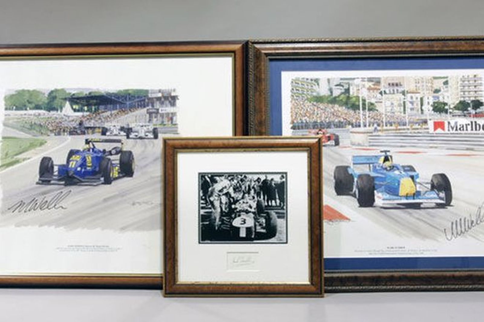Framed Prints - 2 x Signed Mark Webber in F3000 at Brands Hatch 97 & Monaco 01 and 1x Signed Sir Jac
