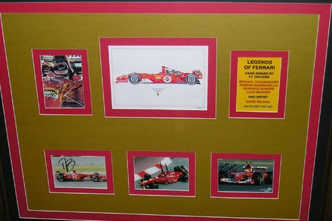 Charity Lot - 5 signed prints featuring the 'Legends of Ferrari' in one large frame