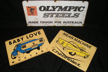 3 x Tin Signs - Olympic Steels, 57 Chevrolet & Mustang