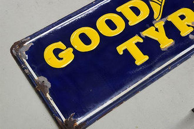 Enamel Sign - Goodyear Tyres 'Embossed' (6' x 2')