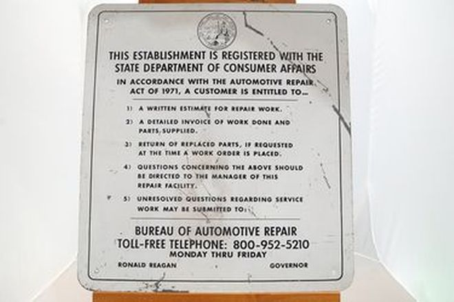 Tin Sign - Californian Bureau of Auto Repairs (61 x 66cm)