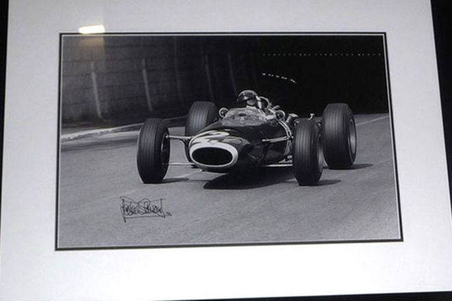 Framed Signed Print - Jackie Stewart at Monaco Tunnel Signed by Jackie Stewart