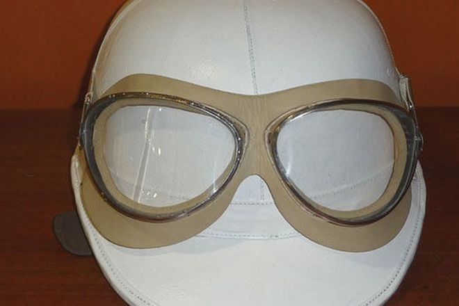 Period Motorcycle Helmet & Reproduction Goggles