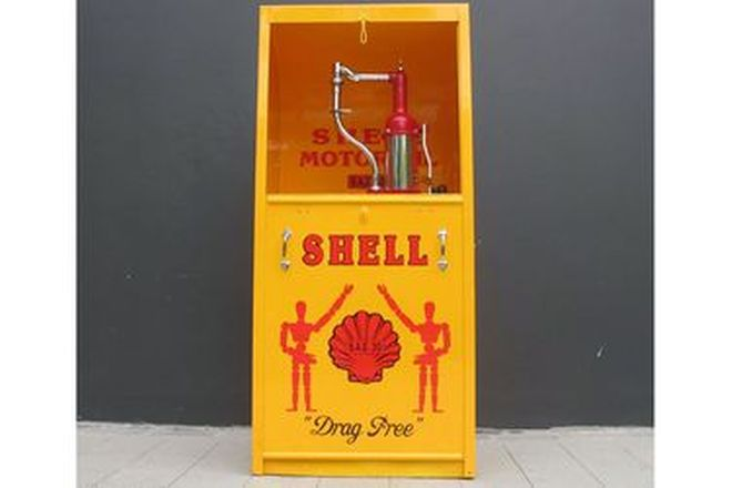 Single Pump Oil Cabinet Restored in Shell Stickman Livery
