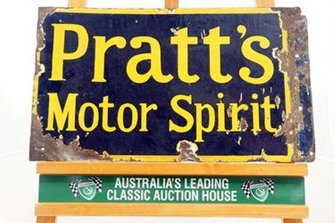 Enamel Sign - Pratt's Motor Spirit Wall Mount Double Sided (33 x 52cm)