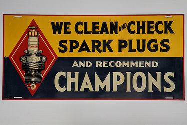 Tin Sign - Champion Spark Plug - Made in USA (35 x 76cm)