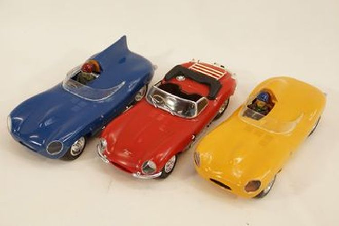 Model Cars x 3 - c1960s Plastic kits Jaguar D-Type x 2 & Jaguar XKSS Red (Approx. 1:24 scale)