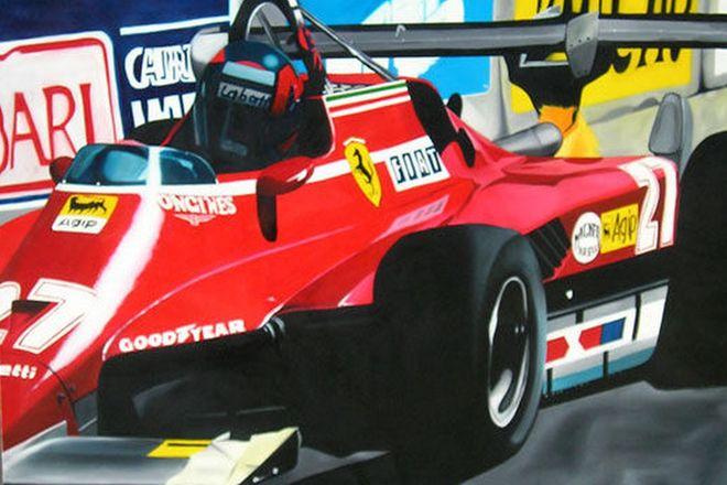 Oil Painting on Canvas - F1 Ferrari taking corner