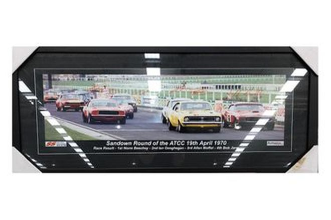 Framed Photo - Sandown Round of the 1970 ATCC signed Moffat, Beechy, Bob Jane, Thomson