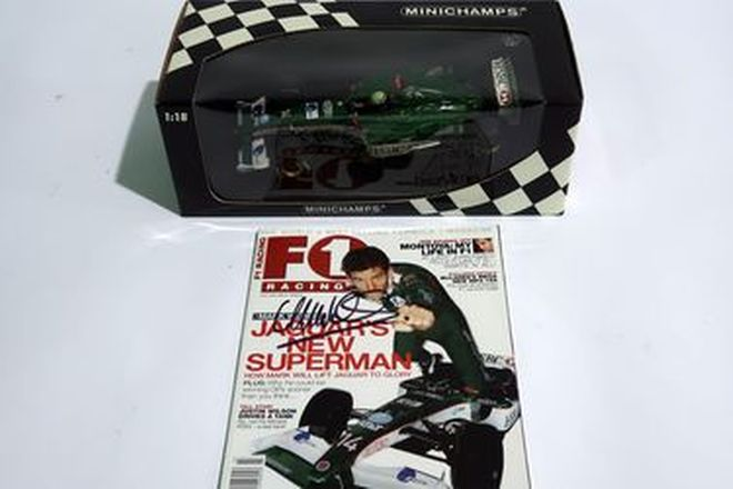 Model Car - Jaguar Racing R4 F1 by Minichamps (Scale 1:18) with F1 Magazine signed by Mark Webber