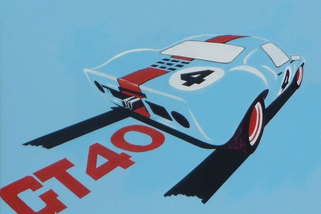Original Acrylic Oil on Canvas Painting - Ford GT40 by Terry Lawrie (75 x 60cm)