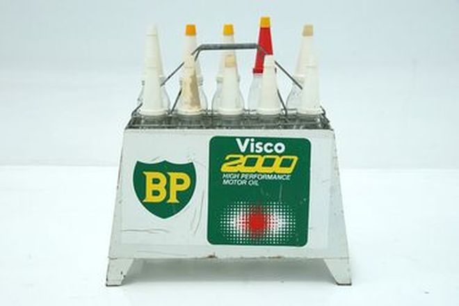 Oil Rack & Bottle - BP Visco  x 10 bottles (Original)