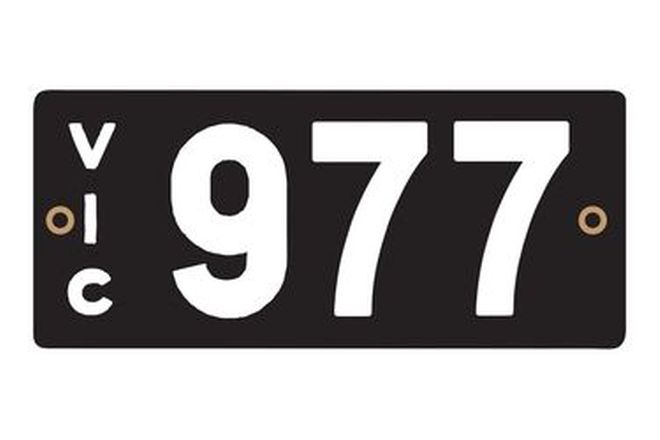 Victorian Heritage Numerical Number Plates '977'