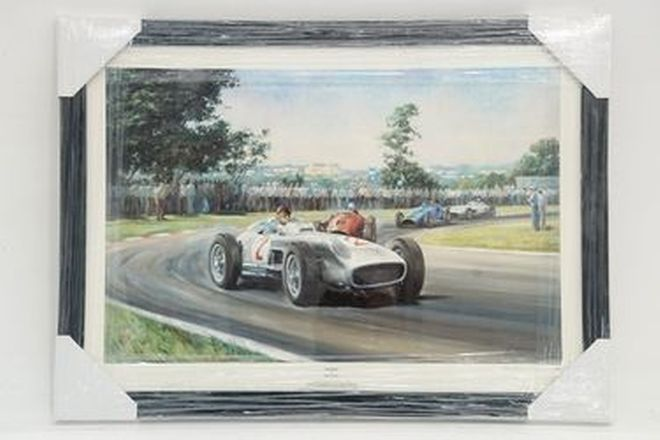 Framed Signed Print - Fangio in Mercedes-Benz W196 at 1955 Argentinian GP